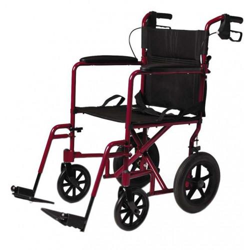 "Red Medline Lightweight Transport Adult Folding Wheelchair with 12"" Wheels"