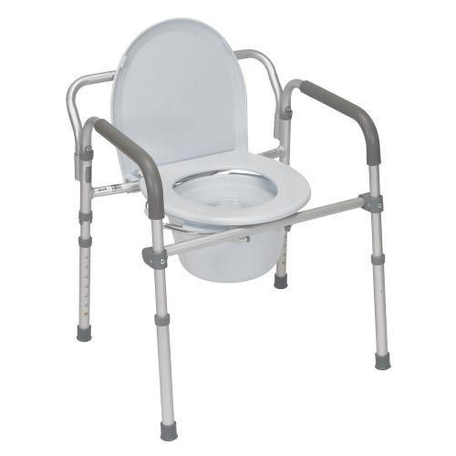 Aluminum Folding Commode with Padded Armrests
