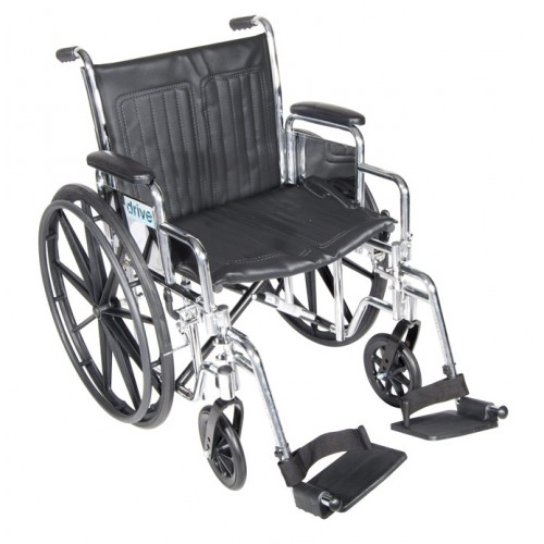 Drive Chrome Sport Wheelchair with Various Seat Sizes Arm Styles and Foot Rigging Options