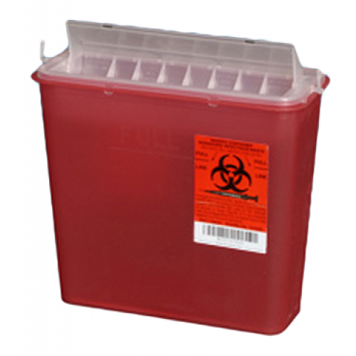 "Plasti-Products 141020  5 Quart Red Sharps Container with Rotating Chamber - 10.5"" x 4.75"" x 10.75"""