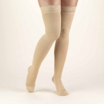 TRUFORM Classic Medical Thigh High Silicone Lace Top CLOSED TOE 20-30 mmhg