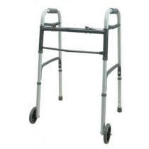 Dual Button Folding Walker with 5 Inch Wheels