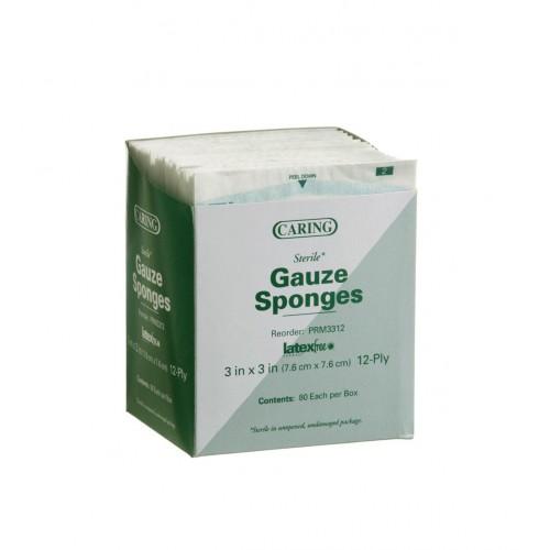 Caring 3 x 3 Inch Gauze Sponges 12 Ply Sterile - PRM3312