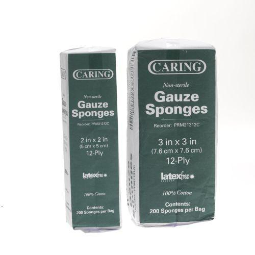 Caring PRM21412C Gauze Sponge 4x4 Inch 12 Ply