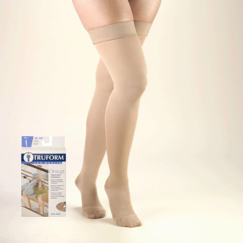 TruForm Opaque Thigh High Closed Toe 20-30 mmHg