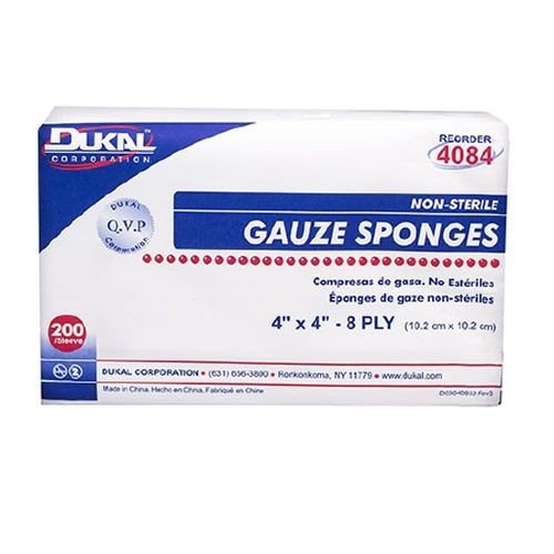 Dukal 4084 Gauze Sponges 4 x 4 Inch, 8 Ply