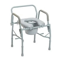 Bedside Deluxe Steel Commode with Drop Arm Padded Arms by Drive
