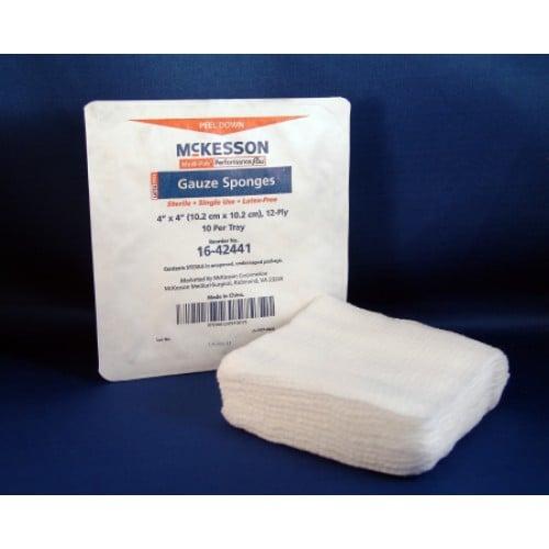 McKesson 16-42441 Gauze Sponges 4x4 Inch 12 Ply - Sterile