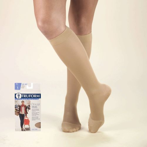 TruForm Opaque Knee High Closed Toe 20-30 mmHg