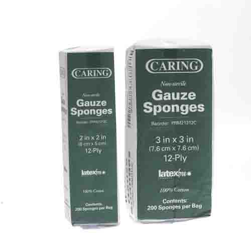 Caring PRM21312C  Gauze Sponge 3x3 Inch 12 Ply