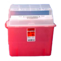 3 Gallon Transparent Red GatorGuard Sharps Container with Counterbalanced Door 31314886