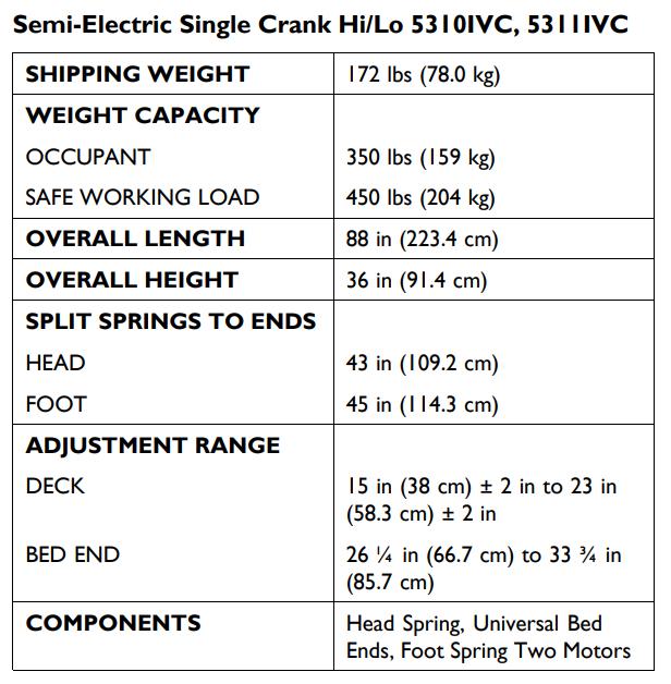 invacare 5310ivc semi electric hospital bed bundle d56