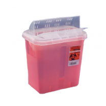 3 Gallon Transparent Red Sharps Container Always Open Lid 85221R
