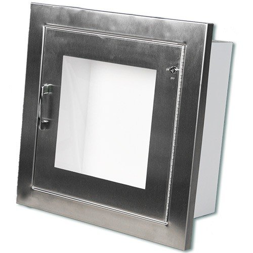 Stainless Steel Semi-Recessed AED Cabinet with Alarm