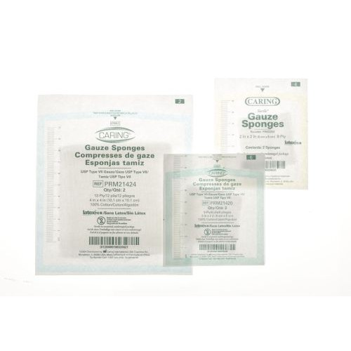 Caring PRM2208 Gauze Sponges 2x2 Inch 8 Ply Sterile