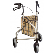 Winnie Lite Supreme Aluminum 3-wheeled Rollator Tan Frame with Plaid Bag
