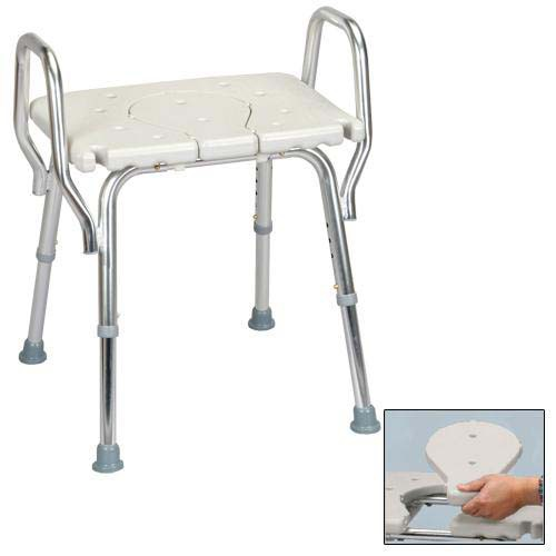 Shower Chair with Arms and Replaceable Cutout Seat