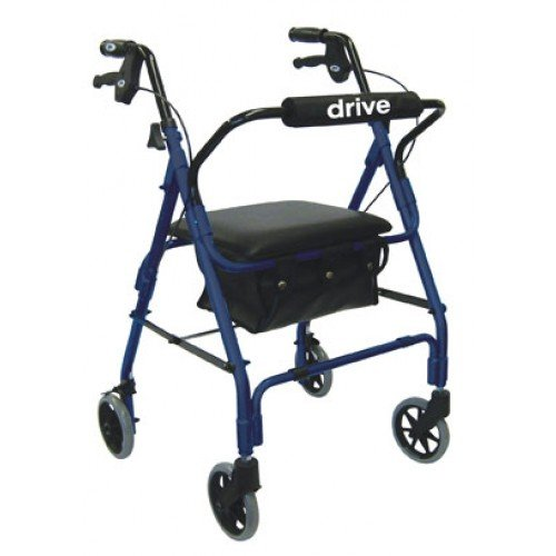 Lever Brake 4 Wheel Aluminum Walker Rollator by Drive