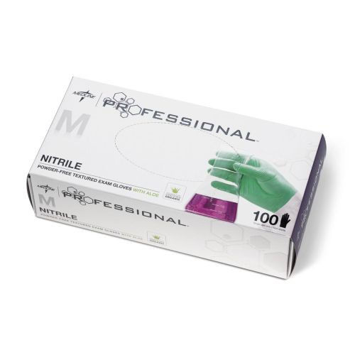 Medline Professional Nitrile Exam Gloves with Aloe, Box of 100