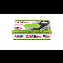 CARE Black 9-Inch Nitrile Exam Powder-Free Gloves