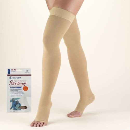 Thigh High Compression Stocking with Silicone Dot Top Open Toe 30-40 mmHg