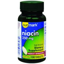 Sunmark Niacin 250 mg Time Release Tablets 100 per Bottle