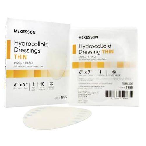 McKesson 6 x 7 Inch Hydrocolloid Dressing - 1885 | Thin, Sterile