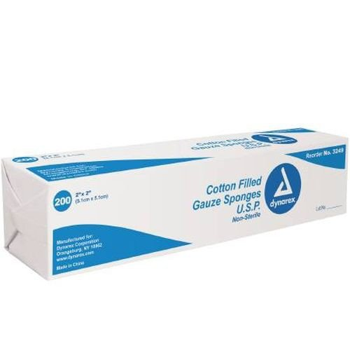 Dynarex 3249 Cotton Filled  2 x 2 Inch Surgical Gauze Sponge