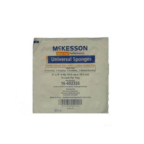 McKesson 16-602326 Universal Sponges 4x4 Inch 4 Ply - Sterile