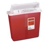5 Quart SharpSafety Transparent Red Sharps Container with Counterbalance Lid 8507SA