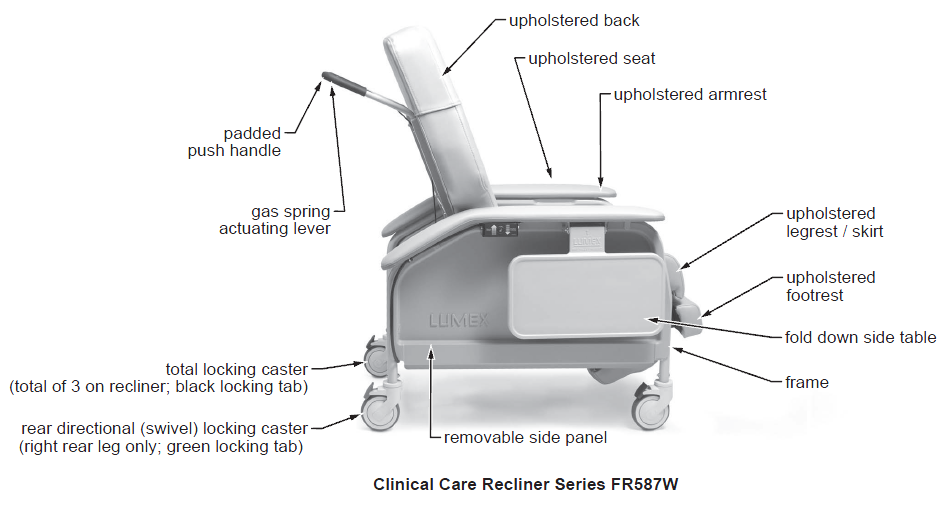 lumex extra wide clinical care geri chair recliner 3fb