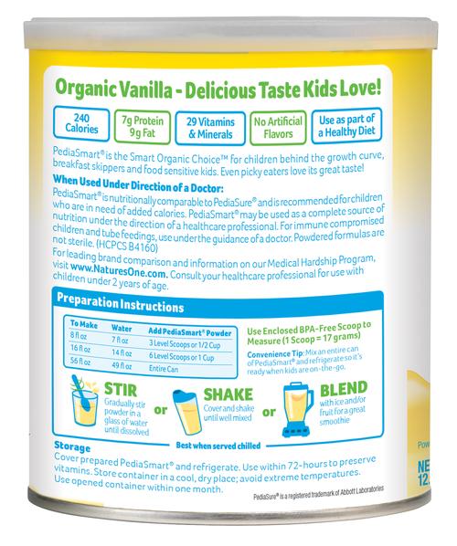 PediaSmart Organic Nutrition Beverage | 88101M, 88103M