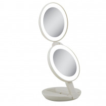 Zadro Dual LED Lighted Travel Mirror with 10x and 1x Magnification