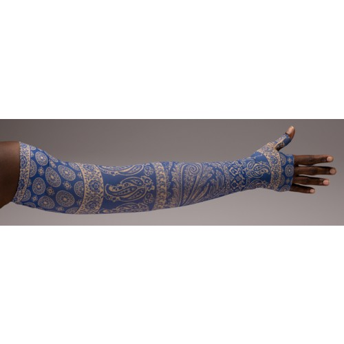 LympheDivas Blue Bandit Compression Arm Sleeve 30-40 mmHg w/ Diva Diamond Band