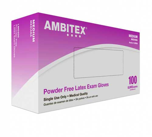 ambitex powder free latex exam gloves v200 series non sterile ced