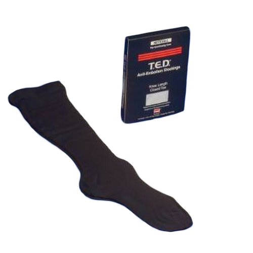 Black TED Hose Knee High Closed Toe Anti-embolism Stockings