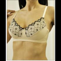 Nearly Me 7570 Tiffany Mastectomy Bra - Beige/Black Lace