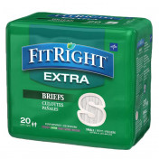 Medline FitRight Extra Adult Briefs with Tabs, Heavy Absorbency
