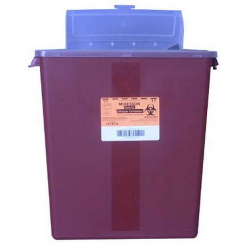 3 Gallon Red Medi-Pak Sharps Disposal Container with Horizontal Entry Lid 101-8710