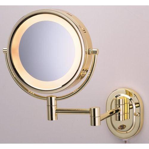 Jerdon Brass Lighted Wall Mount Mirror