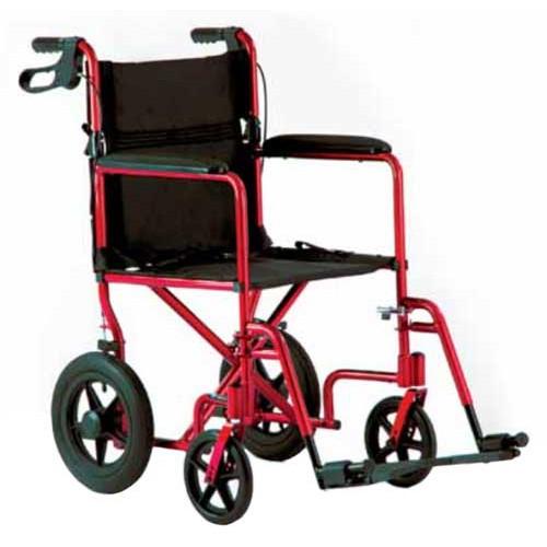 Red Lightweight Aluminum Transport Chair