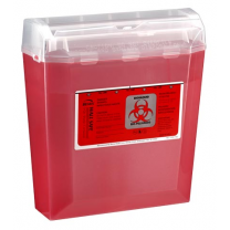 5 Quart Transparent Red Sharps Container with Rotating Cylinder Opening 150-030