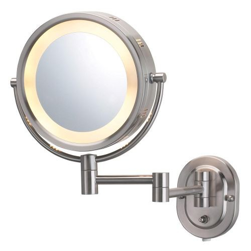 Jerdon Nickel Halo Light Wall Mount Mirror
