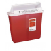 5 Quart Transparent Red Sharps Container with Counterbalance Lid 8507SA