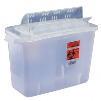 5 Quart Transparent Red SharpSafety Sharps Container with Always Open Lid 851301