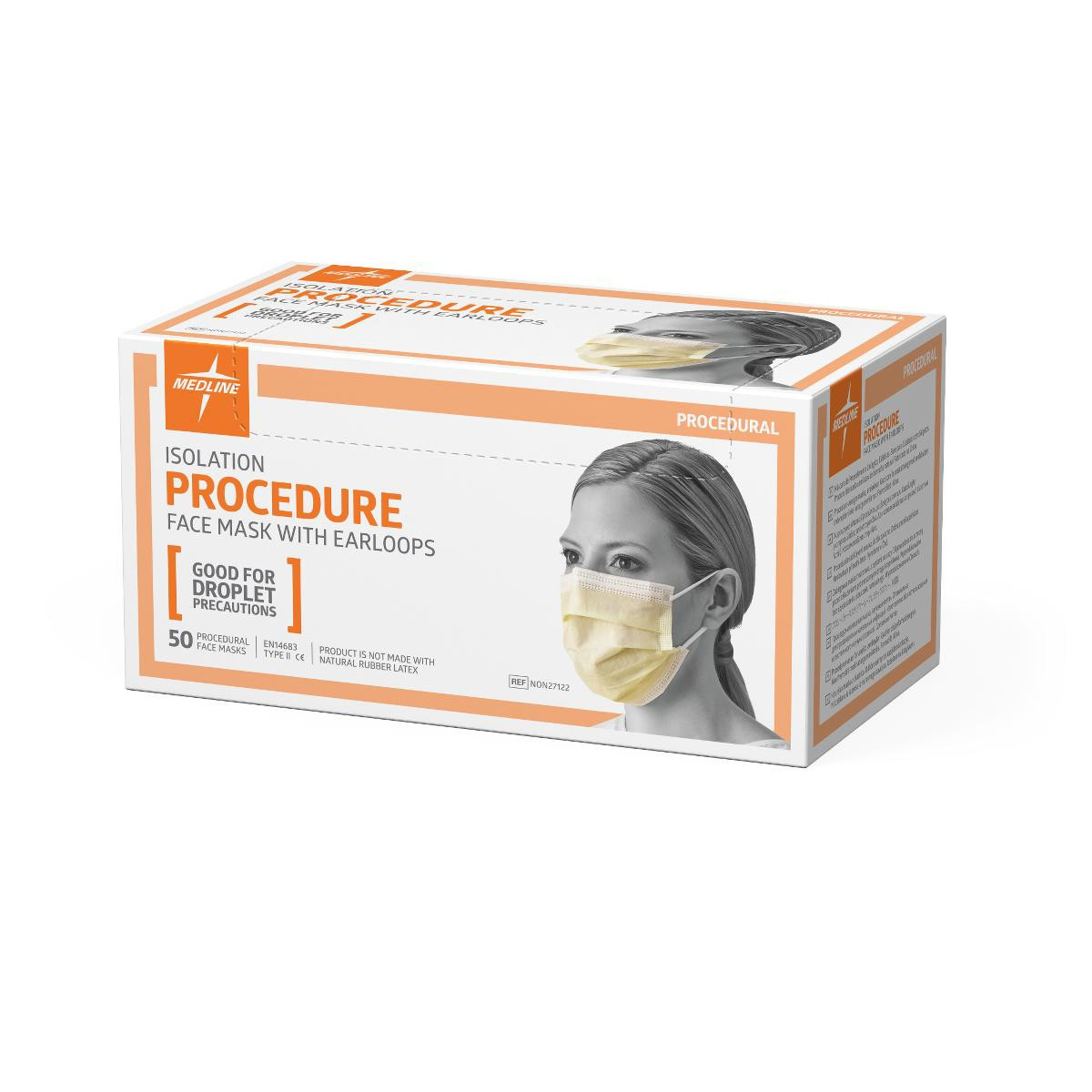 Medline Prohibit Isolation Face Mask W Earloops Latex