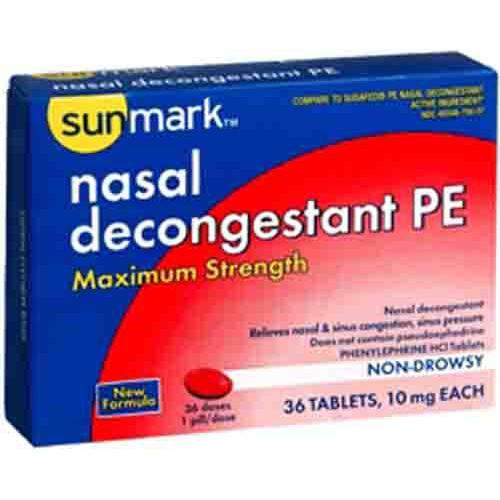 Sunmark Maximum Strength Non Drowsy Nasal Decongestant PE