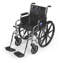 """Medline Excel 2000 Wheelchair, 20"""" Wide Seat, Desk-Length Arms, Swing Away Footrests, Chrome Frame"""