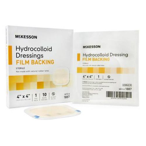 McKesson Hydrocolloid Dressing with Film Backing 4 x 4 Inch - Sterile