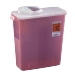 3 Gallon Transparent Red SharpSafety Sharps Container with Rotor Hinged Lid 8964